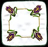STAR BUY! Pair of Coasters in a Mackintosh Iris Nouveau Design. Beautifully embroidered table linen designed in the UK by Beverley Gallagher, to grace your dining table at Christmas, Mother's Day, Easter, or to dress the tables at weddings, anniversaries