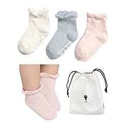 CZCCZC Baby Toddler Non-skid Anti Slip Skid foot Socks Baby Footsocks Sneakers (Style 1(3 Pairs))