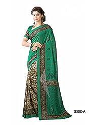 Beautiful Green Bhagalpuri Printed Art Silk Designer Saree