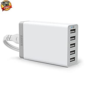 Anker 40W 5-Port Family-Sized Desktop USB Charger with PowerIQ Technology for iPhone 5s 5c 5; iPad Air mini; Galaxy Note; HTC One (M8); Nexus and More (White)