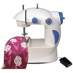 Moradiya fresh Mini Desktop Multifunctional Electric Sewing Machine Household Double Stitches Sewing Tools (White:Purple)