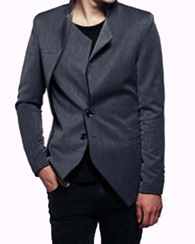 Zeor Style Men's Slim Fit 2 Button Unbalance Jacket/Suit - Grey - L