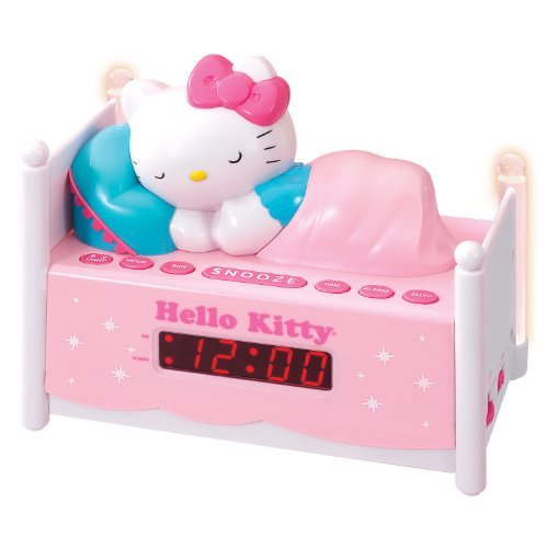 officially licensed hello kitty kt2052 alarm clock radio with bed post night. Black Bedroom Furniture Sets. Home Design Ideas