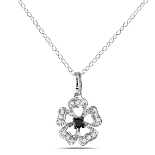 Sterling Silver 1/4 CT TDW Black and White Diamond Fashion Pendant (H-I, I3)