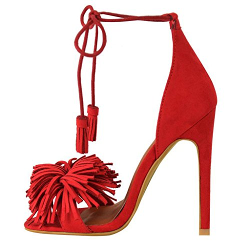 Isastyle Womens Shoes Lace Up High Heel Sandals Tassel Fringe Tie Up Party Prom Strappy Size for Dress Suede Red US 13