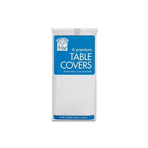 Bakers & Chefs 6 Premium Table Covers Classic White 3-Ply Banquet Paper Poly 54 x 108 (137cm x 274cm)