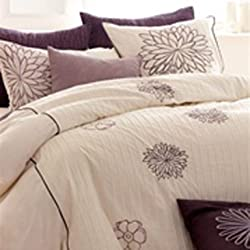 Violet Haze Embrodered Floral Shams (King)
