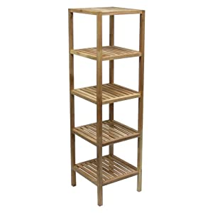 etagere colonne de rangement 5 niveaux en noyer cuisine maison. Black Bedroom Furniture Sets. Home Design Ideas