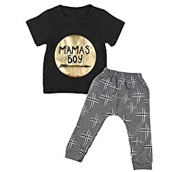 Imported 2pcs Newborn Toddler Infant Baby Boy Clothes T-shirt Top+Pant Outfit Set 80