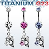 Titanium G23 Belly Banana with dangling dolphin and CZ Stone - Light Sapphire Navel Belly Button Piercing Bar Ring Barbell Body Jewellery Jewelry Steel