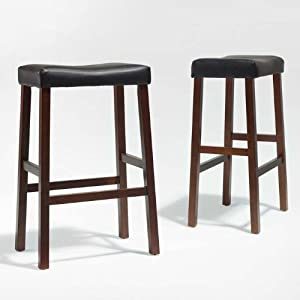 Crosley Furniture Upholstered Saddle Seat Bar Stool, Classic Cherry with 29-Inch Seat Height, Set of 2