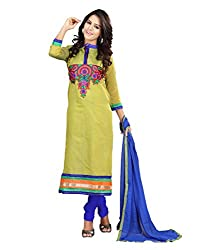 Lookslady Traditional Wear Green Embroidered Cotton dress material