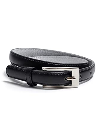 "Solid Color Leather Adjustable Skinny Belt, small (27""-31""), Black"