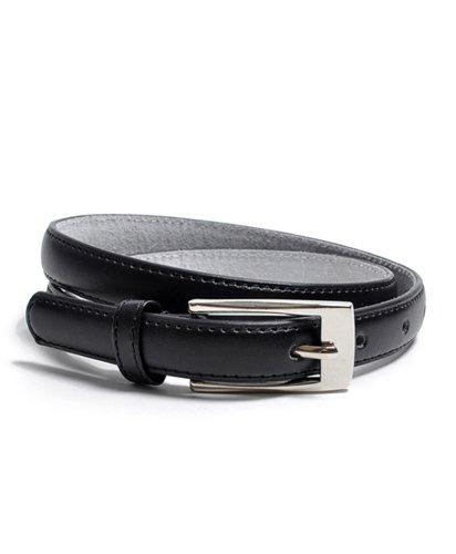 """Solid Color Leather Adjustable Skinny Belt, Medium (32""""-35""""), Black"""