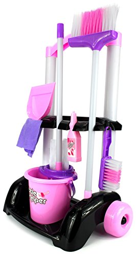 VT Little Helper Cleaning Trolley Cart '32' Children's Kid's Pretend Play Toy Cleaning Play Set w/ Cart, Broom, Mop, Bucket, Dust Pan, Brush, Cleaning Rag, Mock Soap Bottle by Velocity Toys (Childs Toy Broom compare prices)