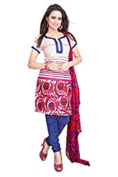 Galaxy Women's Multi-Coloured Printed Poly-Cotton Dress Material (Free Size_White)