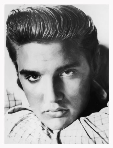 Elvis Presley Vintage Black and White Print on Canvas in Painted Style