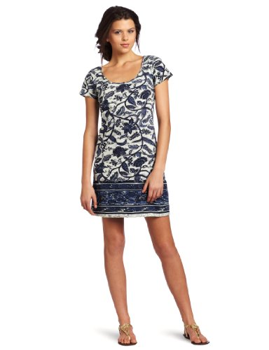 41baCc8JIrL Cotton Dress Lucky Brand Womens Chantel Border Print Dress, Blue Multi, X Small