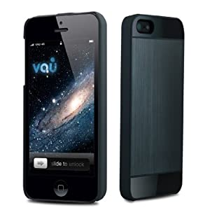 vau BackShield - black metal - Hülle, Hard-Case mit Metallapplikation für Apple iPhone 5 & iPhone 5S