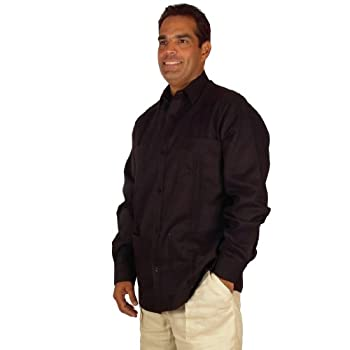 Linen long sleeve guayabera for men in Black.