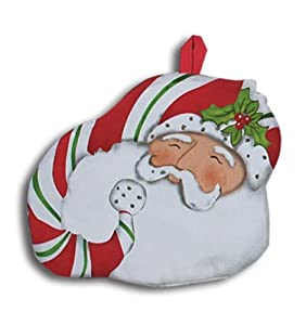Christmas Holiday Candy Cane Santa Shaped Kitchen Pot Holder