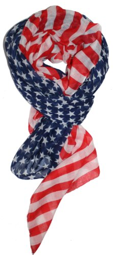 LibbySue-Red, White and Blue, Patriotic American Flag Scarf (Stars & Stripes)