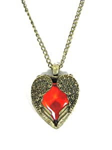 Heart Crystal Necklace Gold Tone Angel Wings NB42 Red Crystal Princess Charm Antique Pendant