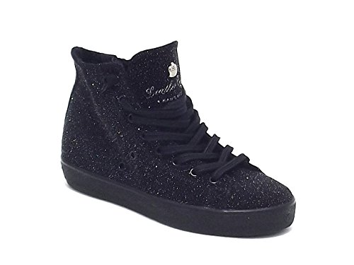 Leather Crown scarpa donna, W117, sneakers in pelle e pelle traforata, colore nero