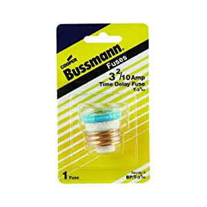 Bussmann T-25BC 25 Amp Type T Time-Delay Dual-Element Edison Base Plug Fuse. ...