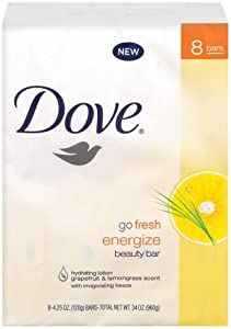 Dove Go Fresh Energize Beauty Bar, Grapefruit and Lemongrass, 8 Count (4.25 Ounce Each) (Pack of 3)