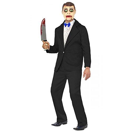 GSG Ventriloquist Dummy Costume Adult Creepy Doll Puppet Halloween Fancy Dress