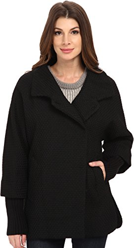 Calvin Klein Womens Asymmetrical One Button Coat w/ Knit Sleeve