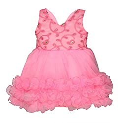 ChipChop Empire Waist Pink Party wear Round Neck Dress for Girls