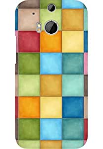 AMEZ designer printed 3d premium high quality back case cover for HTC One M8 (abstract checks)