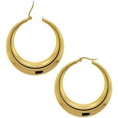 Inox Jewelry 316L Stainless Steel 40mm Gold ip Plated Hoop Earrings