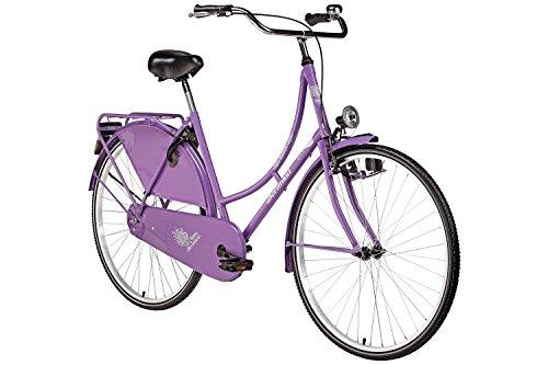 Hollandrad 28'' Bermuda Valencia in violett Stadtrad Damen Holland Fahrrad Citybike Beleuchtung Gepäckträger Rücktrittbremse