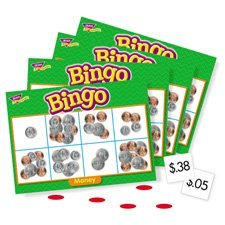 Trend Enterprises Products - Money Bingo Games, 36 Playing Cards, 200 Chips, English - Sold as 1 EA - Money Bingo Games help students practise adding pennies, nickels, dimes, and quarters. Match money amounts to images of heads and tails. Unique, six-way