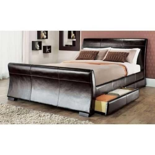 Manhattan Drawer Bed With 4 Drawers Available In 2 Sizes and 3 Colours (Brown, 5ft King)
