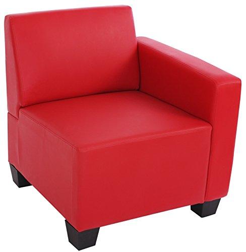 Fauteuil de Lyon partie droit avec accoudoir en simili-cuir, coloris rouge -PEGANE-