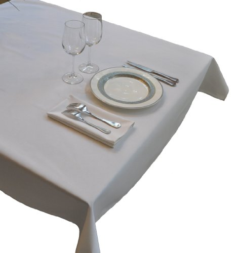 52 in by 114 in White Rectangular Tablecloth Heavy Woven Polyester - Commerci...