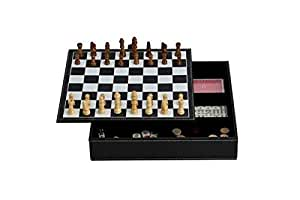 "11"" 7-in-1 Game Set with Black Leatherette Finish"