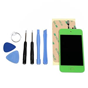 iPod Touch 4th Gen LCD Digitizer Glass Screen Assembly, Home Button, Tools and Adhesive-Green