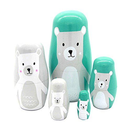 xlpace 5pcs/set Lovely Baby Toy Cute Rabbit Bear Animal Matryoshka Doll Interactive Wooden Toys Russian Nesting Dolls ... (Russian Bear Toy compare prices)
