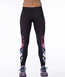iSweven Star Series Design Printed Polyester Multicolor Yoga pant Tight legging for womens girls