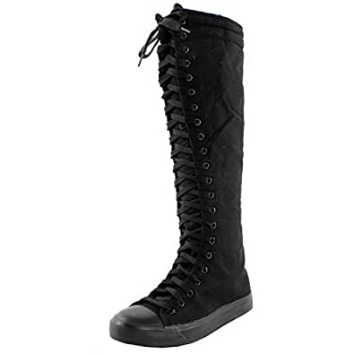 West Blvd Sneaker Boots Black Canvas, 5.5