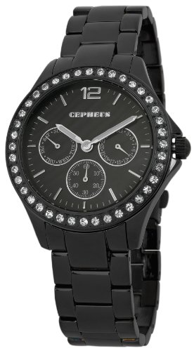 Cepheus Women's Quartz Watch with Black Dial Analogue Display and Black Bracelet CP502-622