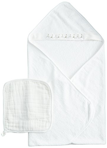 aden + anais Muslin Hooded Towel & Washcloth Set, Water Baby (Discontinued by Manufacturer)