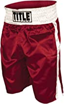 TITLE Professional Boxing Trunks, Red/White, X-Large