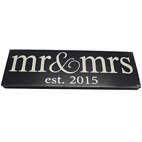 1 X Mr & Mrs Est. 2015 Vintage Wood Sign for Wedding Decoration, Prop, Gift or Wall Decor -- PERFECT WEDDING GIFT!