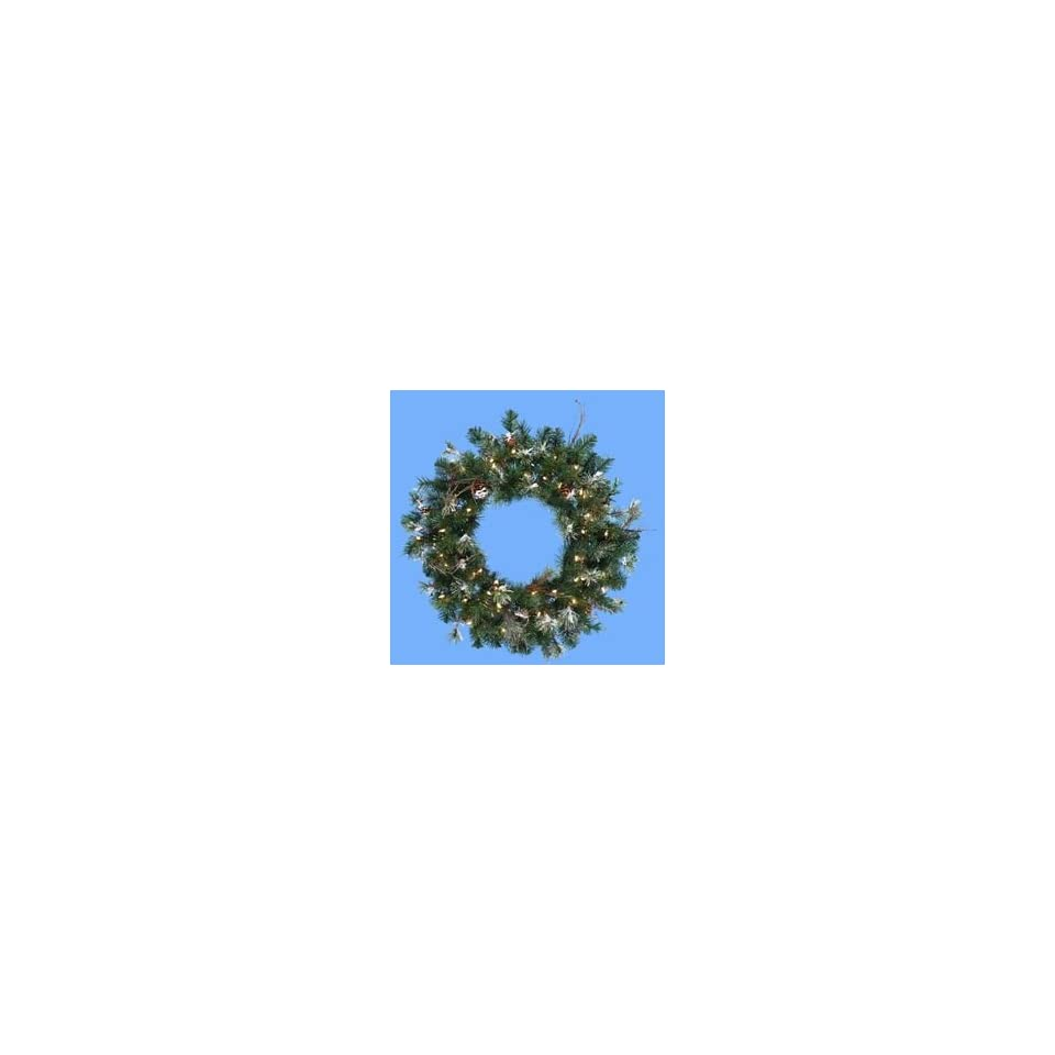 30 Pre Lit Frosted Artificial Christmas Wreath with Pine Cones   Clear Lights